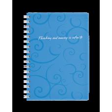 Купить Записная книга на пружине BAROCCO, А6, 80 листов, клетка, голубой оптом и в розницу в магазине Скрепка. Доставка по Виннице и Украине.