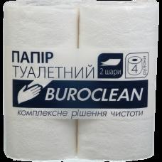 """Купить Бумага туалетная целюлозная """"Buroclean"""", 4 рулона, на гильзе, двухслойная, белая оптом и в розницу в магазине Скрепка. Доставка по Виннице и Украине."""