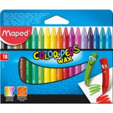 Купить Мелки восковые COLOR PEPS Wax Crayons, 18 цветов оптом и в розницу в магазине Скрепка. Доставка по Виннице и Украине.