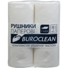 Купить Полотенца целлюлозные Buroclean, 2 рулона, на гильзе, двухслойные, белые оптом и в розницу в магазине Скрепка. Доставка по Виннице и Украине.