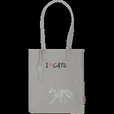 Сумка на плече CAT LOVER, 29x35x3 см, сіра (декор: глітерний кіт) (ZB.702403)